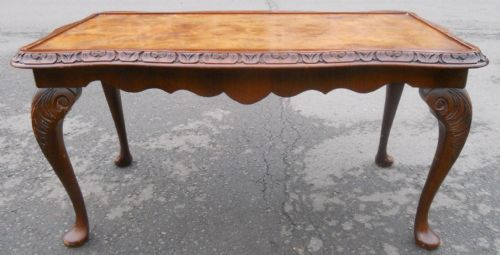 Long Carved Walnut Coffee Table